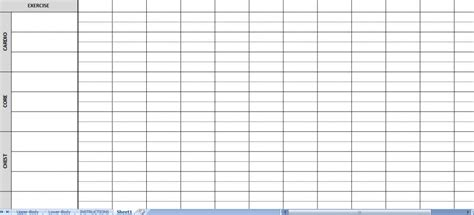 excel workout routine sheets workout sheets