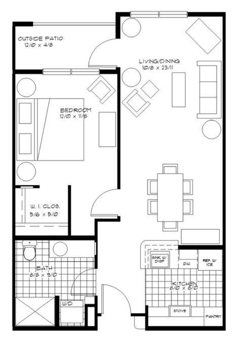 one bedroom house plans wheatland village 16556 | apart 1bd