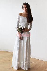 vintage style off white lace off the shoulder long sleeve With mid length lace wedding dress
