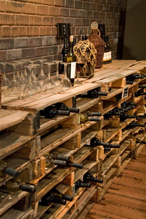 repurposed pallets traditional wine cellar