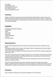 Professional freelance copy editor templates to showcase for Free resume editing software