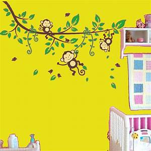 Trampolin Für Kinderzimmer : wandtattoo kinderzimmer baum affe bunt wandsticker 124x174cm ~ Frokenaadalensverden.com Haus und Dekorationen