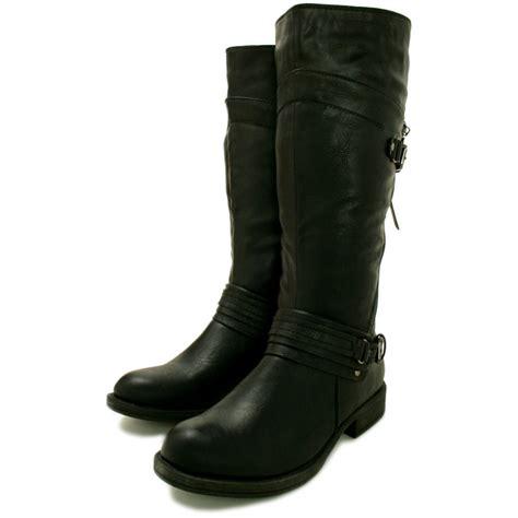 Buy Hanna Flat Knee High Biker Boots  Black Leather Style