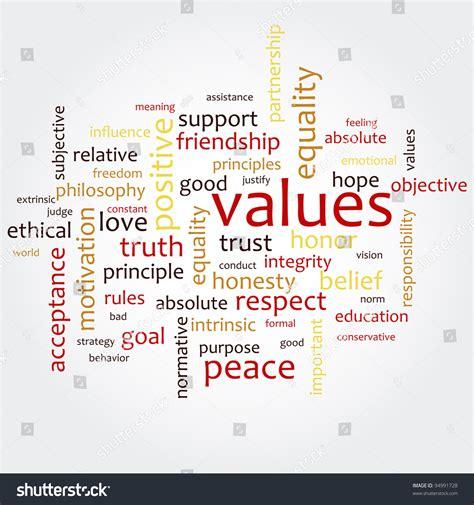word cloud word values stock vector  shutterstock