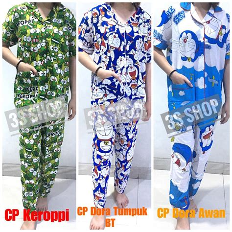 baju tidur piyama dewasa cp lengan pendek katun doraemon keroppi tsum cat panda bee