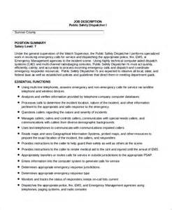 Dispatcher Duties For Resume by Sle Dispatcher Description 10 Exles In Word Pdf