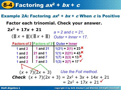 factoring ax2 bx c worksheet answers stinksnthings