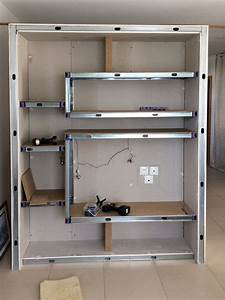Construire Un Placard En Placo : construction d 39 un meuble de s paration avec des montants m talliques standards m48 et cales ~ Melissatoandfro.com Idées de Décoration