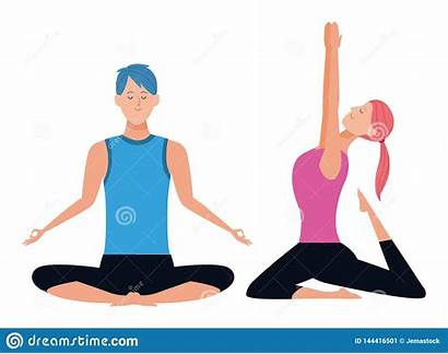 Poses Yoga Couple Ponytail Cartoon Avatars Character