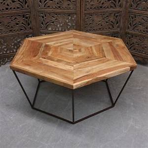 Hexagonal coffee table nadeau charlotte for Hexagon coffee table glass