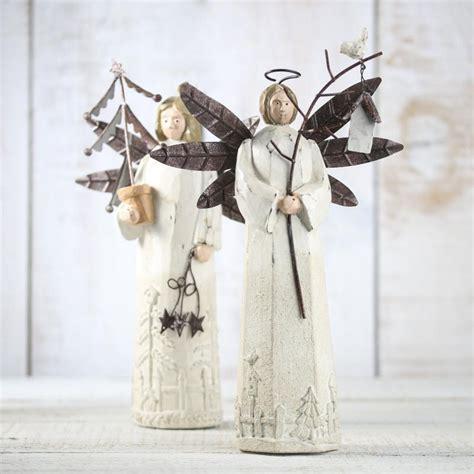 Rustic Holiday Angel Figurine Table Decor Christmas