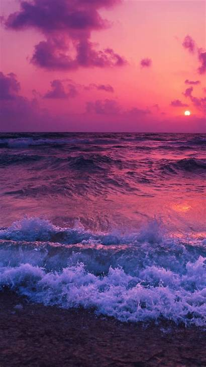 Ocean Sunset Waves Beach Foam Wallpapers Desktop
