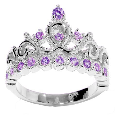 birthstone color for february 14k gold princess crown genuine amethyst birthstone ring
