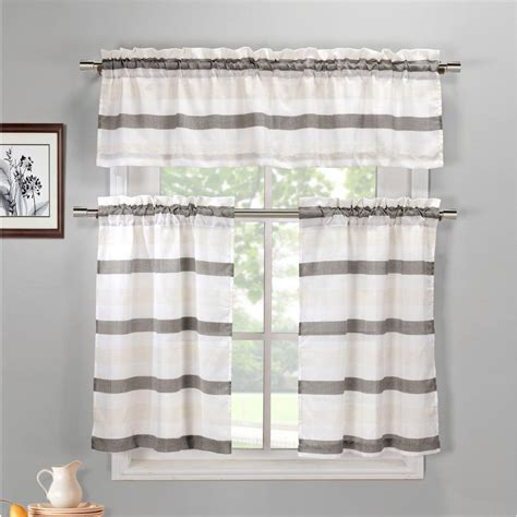 duck river akua grey linen kitchen curtain set