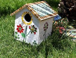 Mosaik Basteln Ideen : vogelh uschen mit mosaik stad ttgarten ideen pinterest ~ Lizthompson.info Haus und Dekorationen