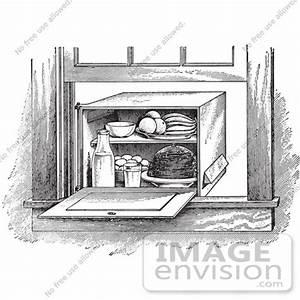 Retro Clipart Of A Vintage Window Box Refrigerator In ...