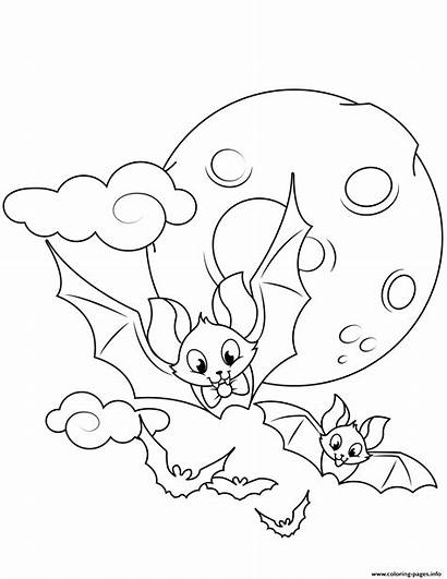Halloween Coloring Pages Bats Flying Printable Drawing