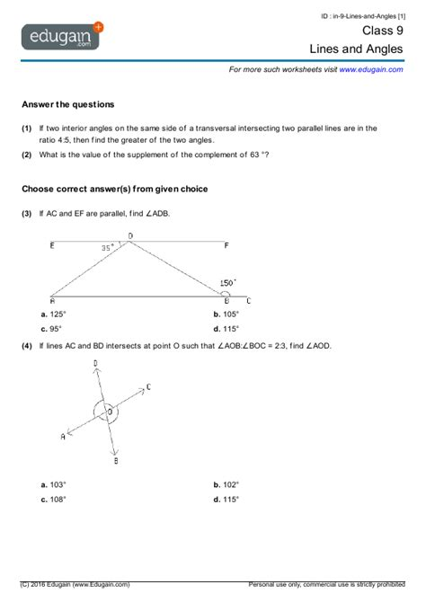 grade  math worksheets  problems lines  angles