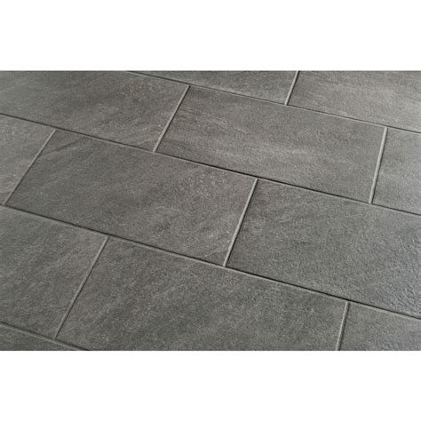 style selections galvano charcoal glazed porcelain indoor outdoor floor tile common 12 in x 24