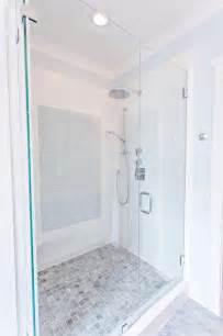 waterfall shower bench transitional bathroom hay interior design
