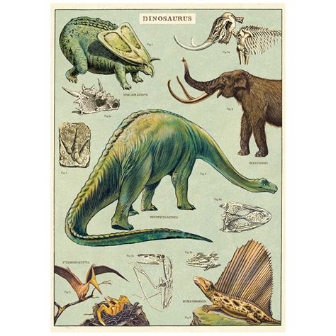 dinosaurs species chart vintage style poster  retro planet