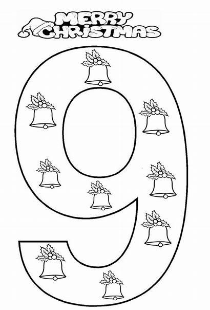 Number Coloring Worksheet Christmas Preschool Kindergarten Numbers