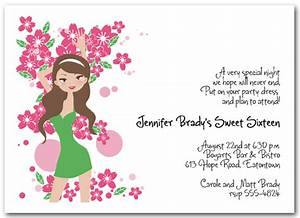 Brunette Girl 16th Birthday Invitation