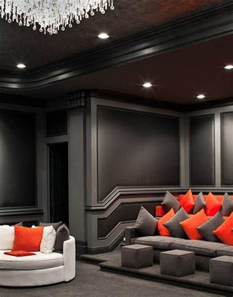grey and black theater room home theater in 2019 home