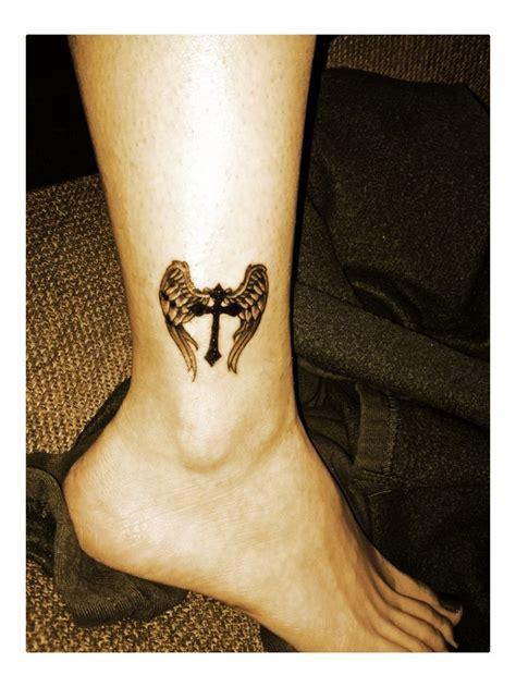 angel wings  cross tattoo      shoulder blades ink tattoos