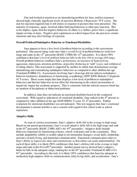 basc 3 report template psychological report sle