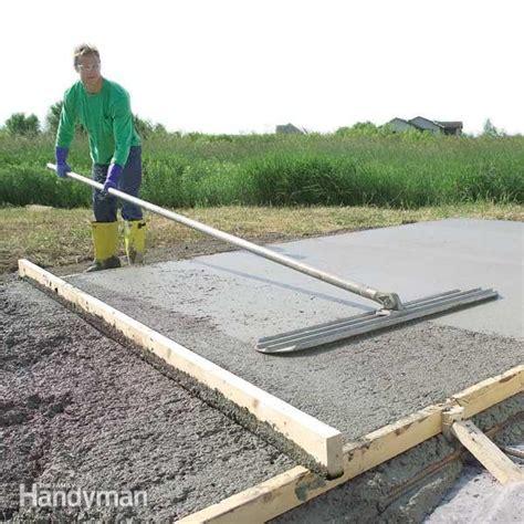 form  pour  concrete slab  family handyman