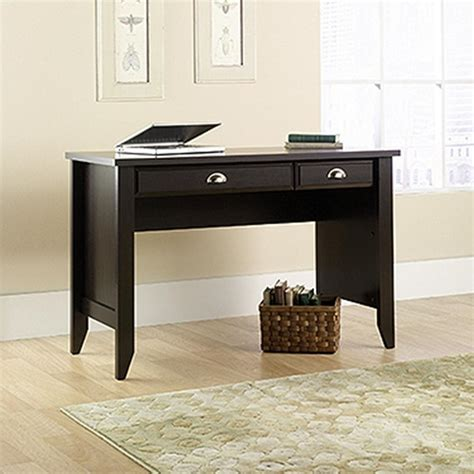 sauder shoal creek dresser in jamocha wood sauder shoal creek jamocha wood desk 411961 the home depot