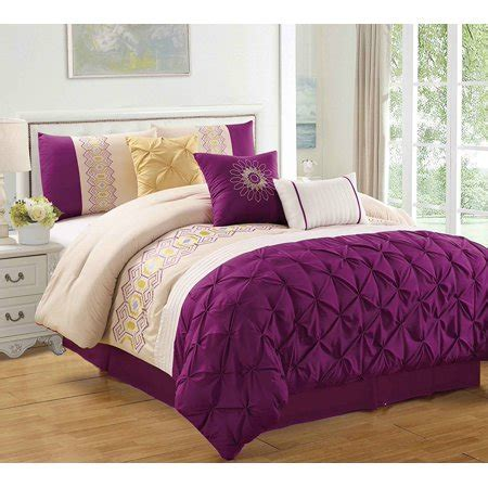 walmart size comforter purple 7 embroidered pinched comforter set