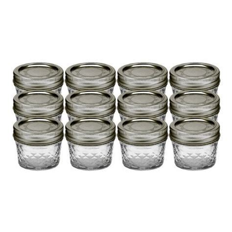 Ball 4 Ounce Quilted Crystal Jelly Jars with Lids and