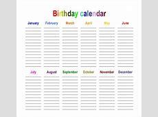 Paper Orientation Landscape Birthday Calendar Template