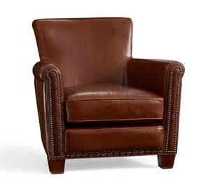 irving leather armchair with nailheads pottery barn au