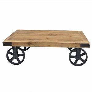 Roue Industrielle Pour Table Basse : table basse industrielle lukas bois et fer roues achat vente table basse table basse ~ Nature-et-papiers.com Idées de Décoration