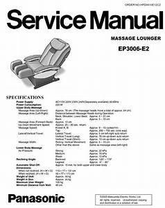 Panasonic Ep3006 Massage Chair Service Manual And Repair