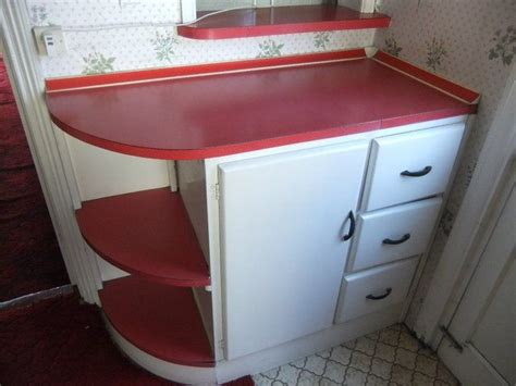 1950s kitchen furniture these retro kitchen cabinets and formica worktops in white and red currently for sale on