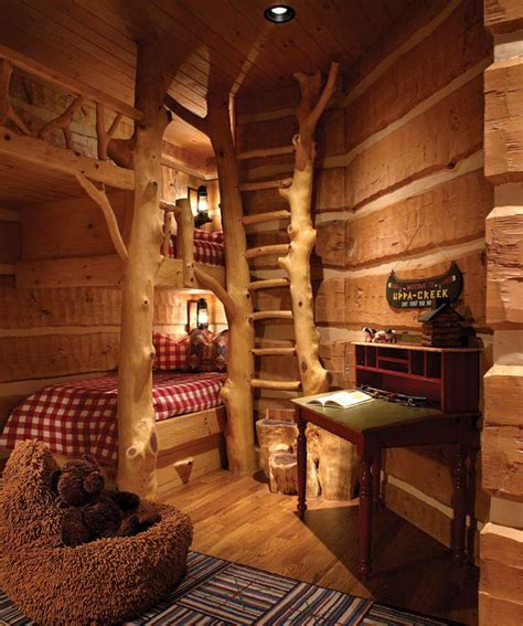 kids cabin theme bedrooms rustic mountain air family lodge wall ladders cabin and bunk