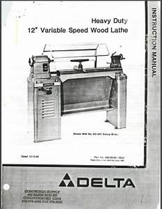 Delta Hd 12 U0026quot  Variable Speed Wood Lathe Instructions Manual