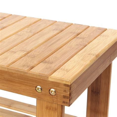 Bamboo Entryway Organizer - shoe bench rack 2 tier bamboo shelf organizer