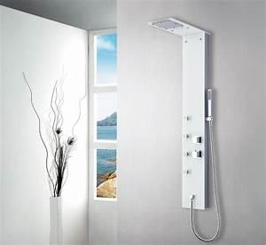 Duschpaneel Mit Thermostat : wei glas duschpaneel duschs ule brausepaneel thermostat ~ Michelbontemps.com Haus und Dekorationen