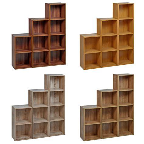 wooden cube shelf 2 4 tier wooden bookcase shelving bookshelf storage