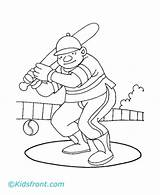 Cricket Pages Coloring Playing Match Player Pitch Printable Ground Hitting Ball Roughly Played Grass Field sketch template