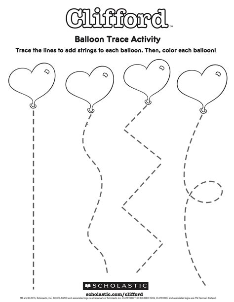 cliffords balloon trace activity worksheets