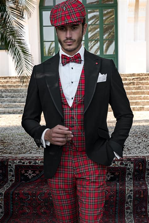 black tailored fit italian men suit coordinated  red