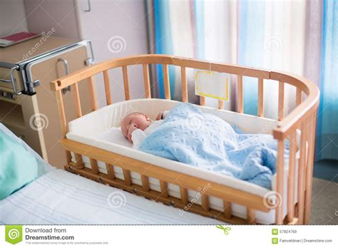Newborn Baby Boy In Hospital Cot Stock Image Image 57824769