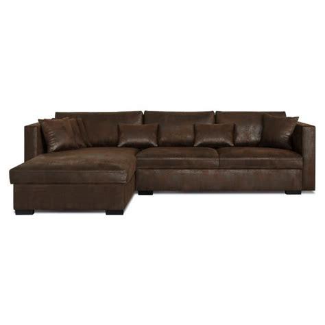 revetement canapé d angle malma canapé d 39 angle réversible 5 places tissu marron