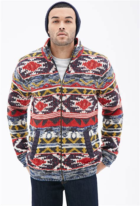 mens patterned sweaters forever 21 southwestern patterned sweater jacket in